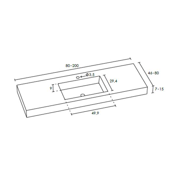 Encimera con toallero integrado - Gel Coat - Saona - Doccia Group