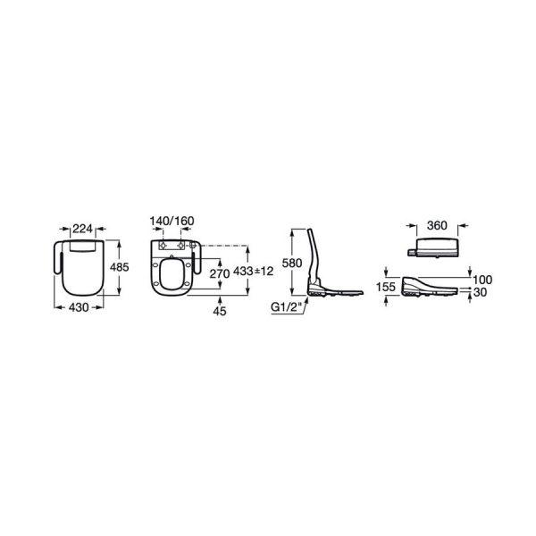 Asiento con funciones de lavado y secado - Multicliean Advance Soft - Roca