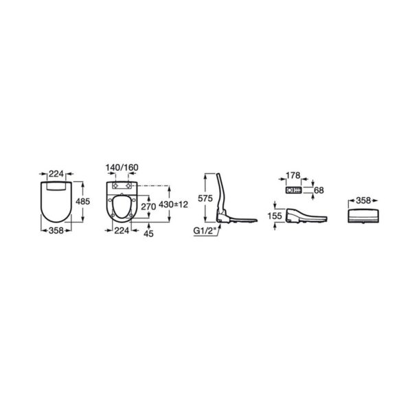 Asiento con funciones de lavado y secado - Multiclean Premium Round - Roca