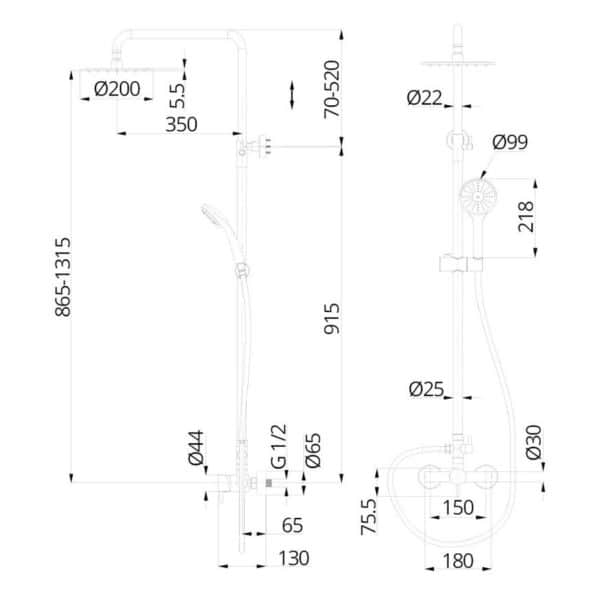 Columna de ducha monomando sistema Eco-green - Minimal - Martelli