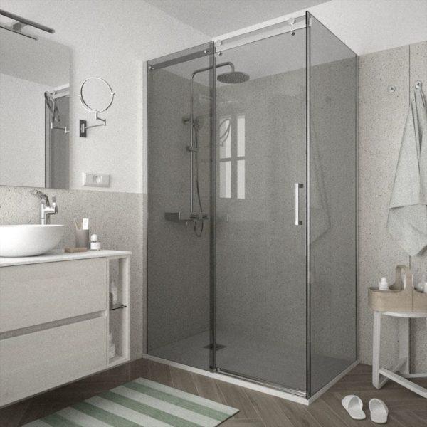 Mampara de ducha frontal con lateral fijo - Helsinki - Salgar