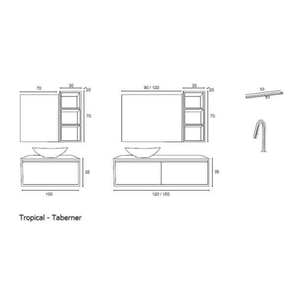 Conjunto mueble de baño moderno - Tropical - Taberner