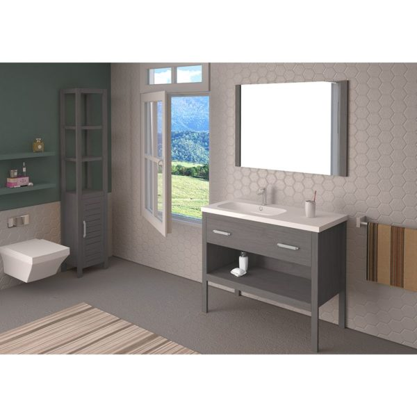 Conjunto mueble + lavabo + espejo 100cm - Nadine - Bathforte
