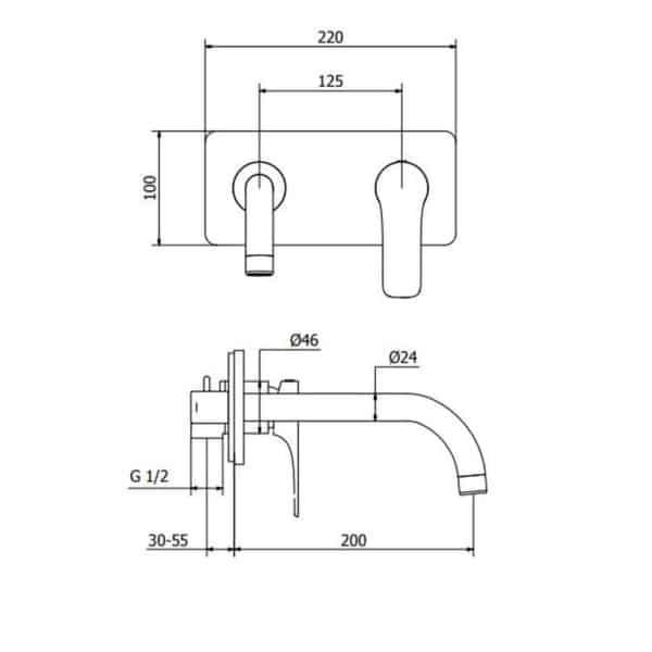 Grifo de lavabo empotrado Eco-green – Bass – Martelli