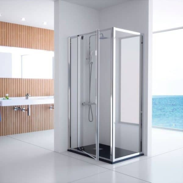 Mampara de ducha frontal 1 fijo + 1 puerta pivotante - 300 - Kassandra