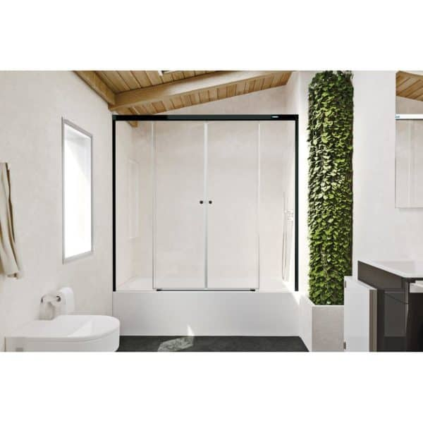 Frontal para bañera de dos fijos + dos puertas correderas - Gravity one - Duscholux