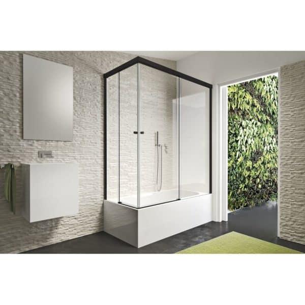 Mampara angular de bañera 2 fijos + 2 puertas correderas - Gravity One - Duscholux