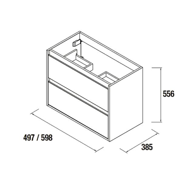 Mueble con patas Pino Bahía de fondo reducido - S40 - Salgar