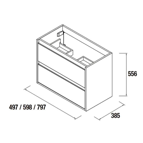Mueble suspendido blanco de fondo reducido - S40 - Salgar