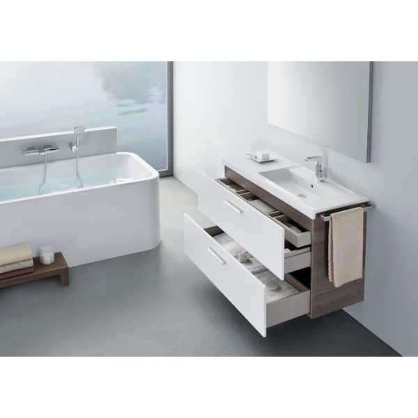 Conjunto completo mueble + lavabo + espejo con luz integrada (90 o 110 cm) - Prisma - Roca