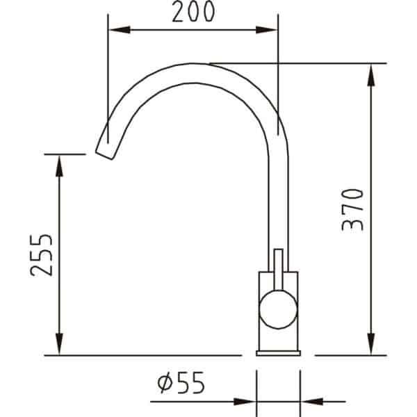 Grifo de cocina caño curvo inox , cromado - Clever - 98521