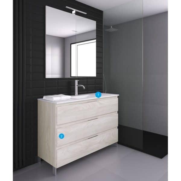 Conjunto mueble 3C con encimera Quadra life SolidCoat Surface - Life - Baños10