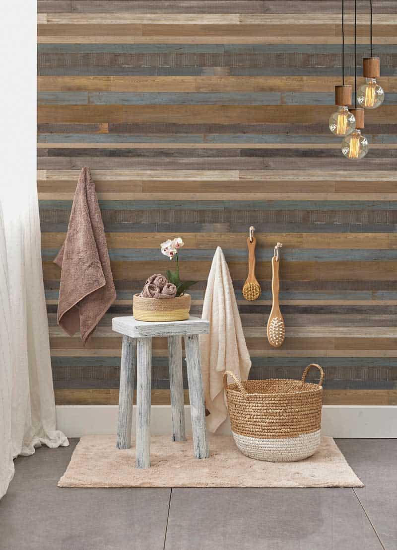 Ambiente de baño con revestimiento Element 3D Wood