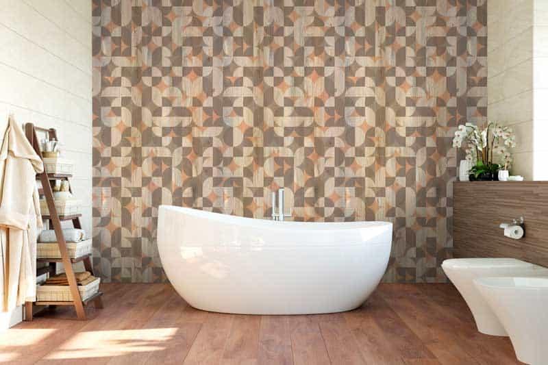 Cuarto de baño con revestimiento Element 3D Wood