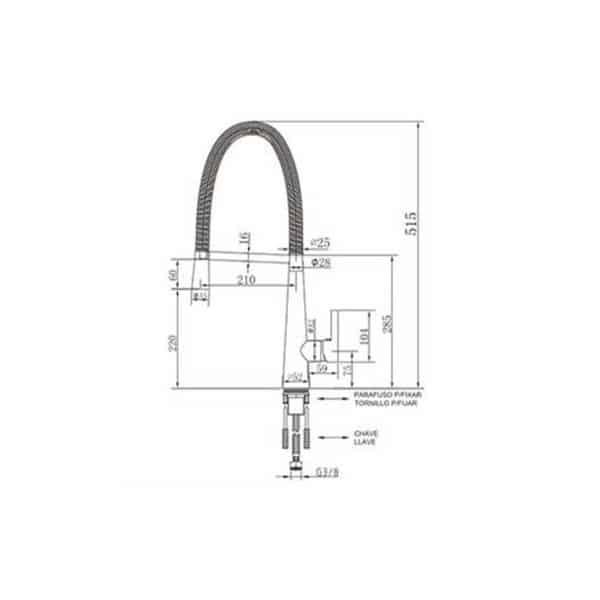 Grifo cocina semi-industrial con caño extraíble - Flex - Griferías Galindo