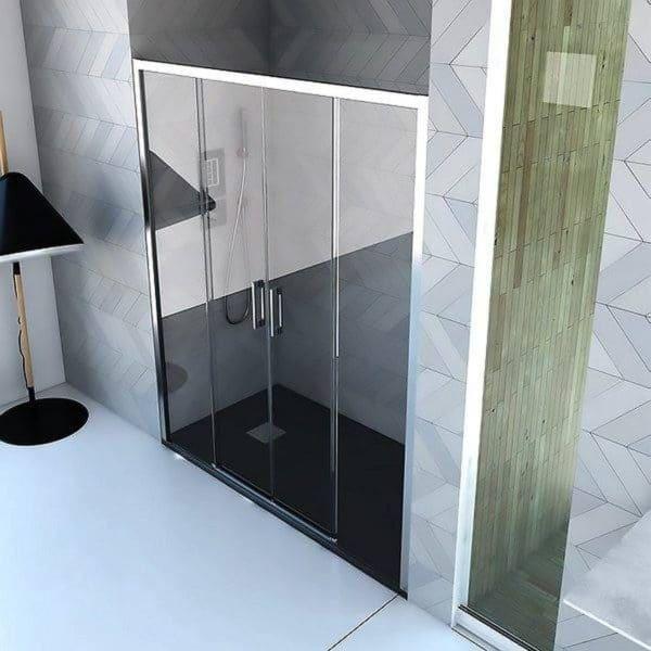 Frente de ducha 2 fijos y 2 puertas correderas sin guías inferior - Danubio - Anna Bagno
