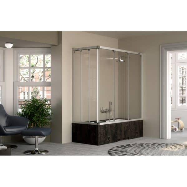 Mampara angular de bañera 2 fijos + 4  puertas correderas - Plus Evolution - Duscholux