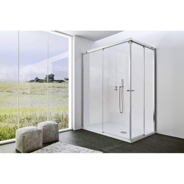 Mampara angular de ducha 2 fijos 2 puertas correderas - Plus Evolution - Duscholux