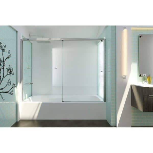 Mampara frontal de bañera 1 fijo + 1 puerta corredera - Plus Evolution - Duscholux