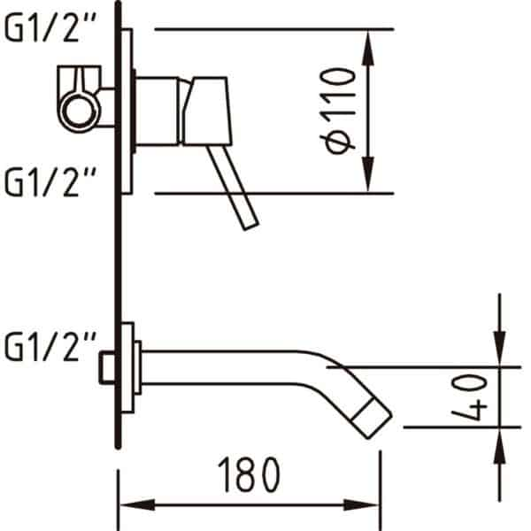Grifo de lavabo monomando para empotrar Caiman Urban EcoNature - Clever