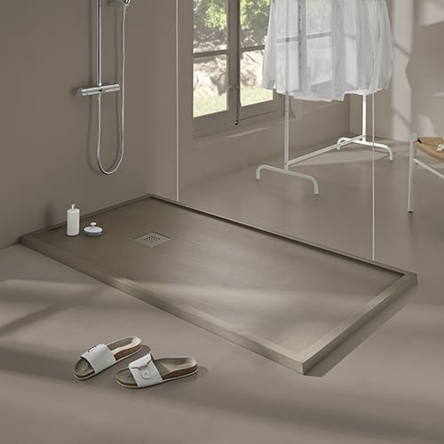 Plato de ducha enmarcado resina acabado madera - Aurea