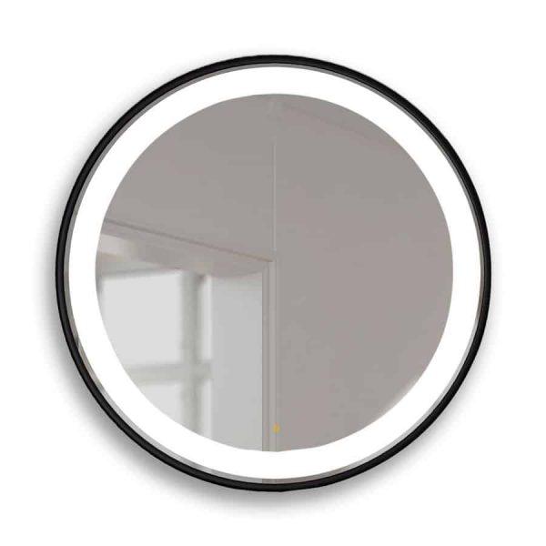 Espejo circular con marco en negro y luz Led - Manillons Torrent