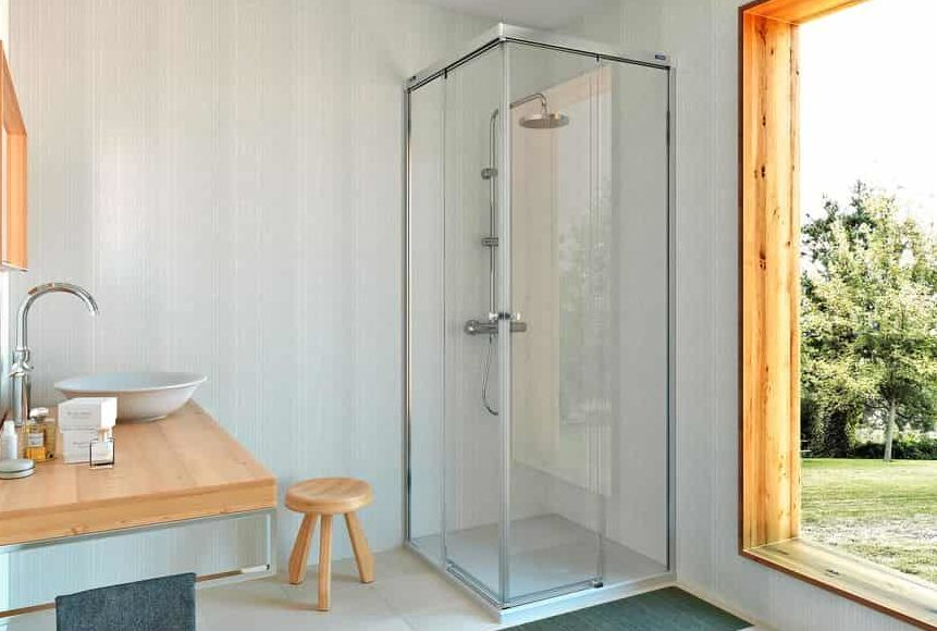 Mampara de ducha angular 2 fijos + 2 puertas correderas – Gravity One – Duscholux