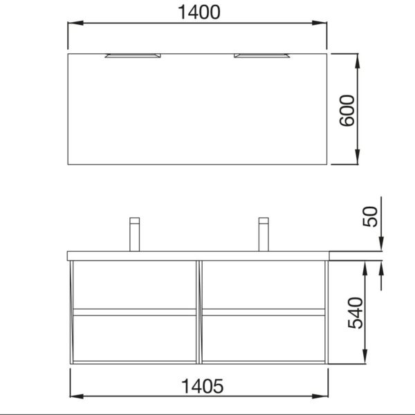 Mueble y lavabo 2 cajones - Noja - Salgar
