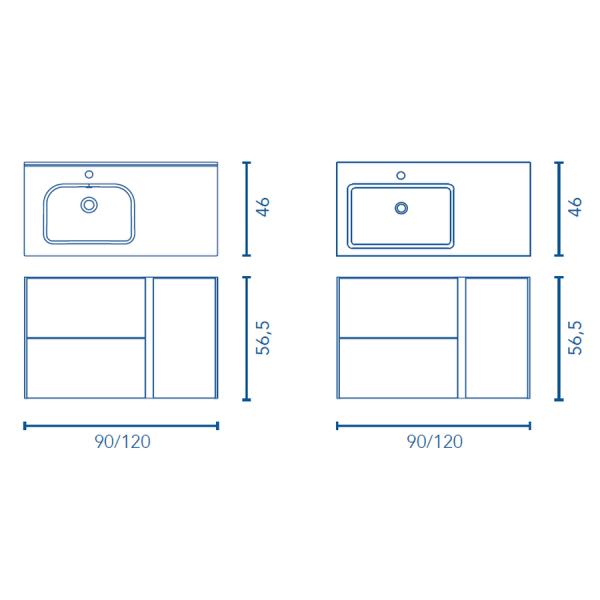 Conjunto mueble + lavabo - GO ON - Royo Group