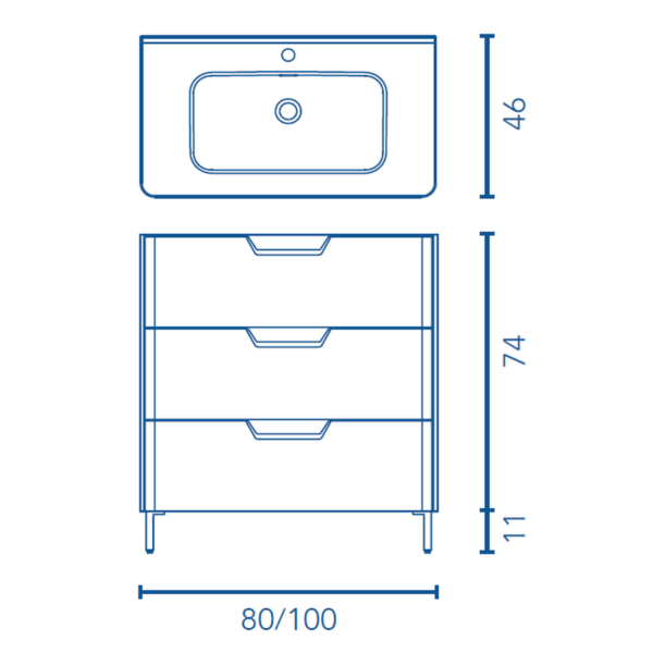 Conjunto de mueble de 3 cajones - Life - Royo Group
