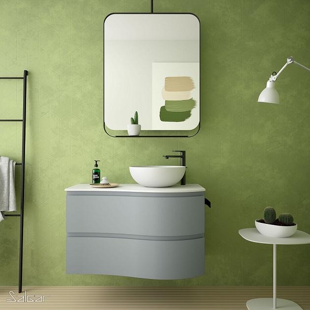 Mueble MAM de Salgar en acabado Blue Fog con lavabo sobre encimera