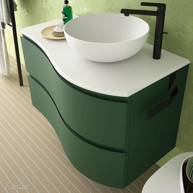 Mueble MAM de Salgar en acabado Royal Green con lavabo sobre encimera