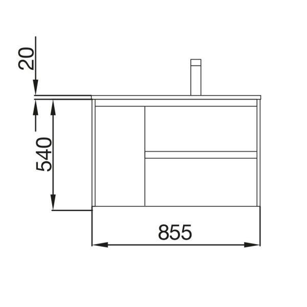 Mueble y lavabo 855mm izquierda - Noja - Salgar