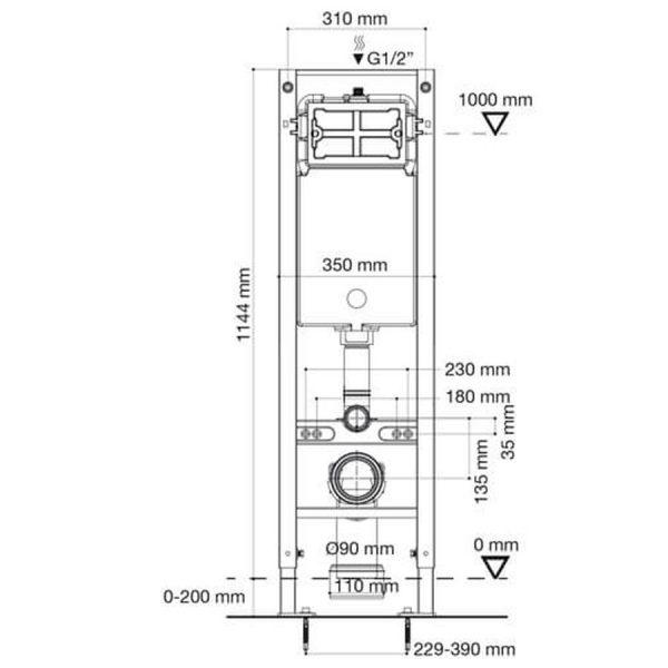 Conjunto Cisterna Empotrada con bastidor estrecho - Drena