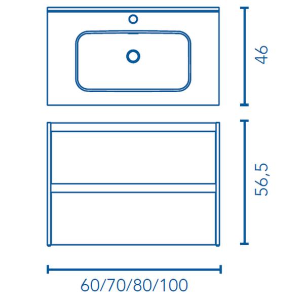 Mueble con cajones y lavabo - Sansa - Royo Group