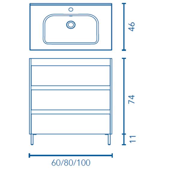 Mueble a suelo y lavabo - Sansa - Royo Group