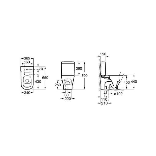 Cisterna de doble descarga 4,5/3L con alimentación inferior para inodoro The Gap