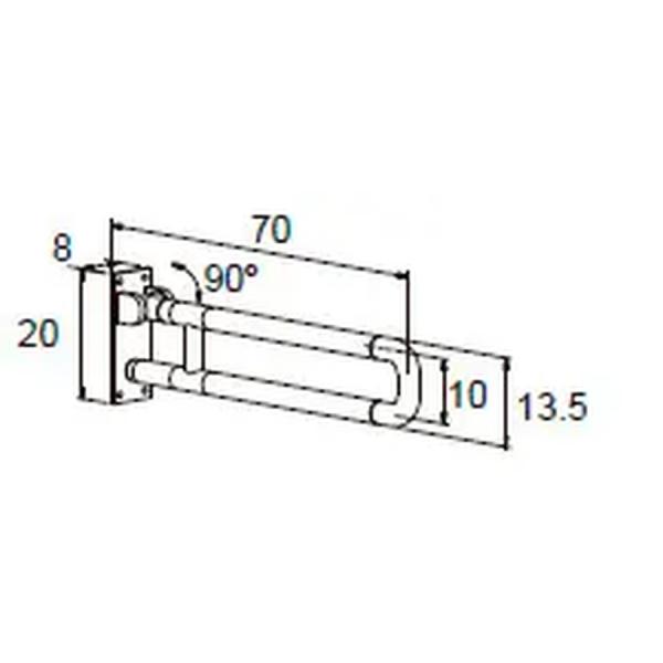 Barra de apoyo abatible con pata ABS - Manillons Torrent
