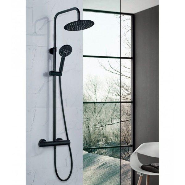 Columna de ducha termostática en acabado negro - Nite - AQG