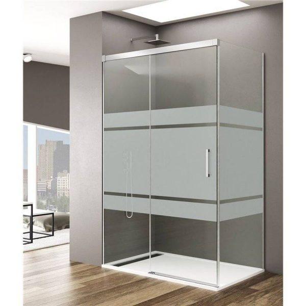Mampara angular 1 puerta corredera con decorado Frost Plus - Basic - GME