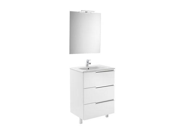 Pack Mueble 3 cajones + lavabo + espejo y aplique LED - Victoria-N - Roca - Victoria
