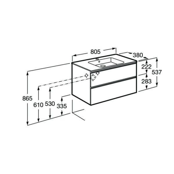 Conjunto Unik mueble base compacto de 2 cajones y lavabo - The Gap - Roca