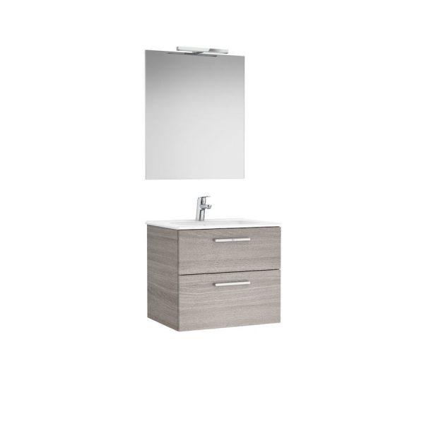 Pack mueble base con dos cajones, lavabo, espejo y aplique LED - Victoria - Roca