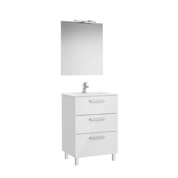 Pack Family mueble base con tres cajones, lavabo, espejo y aplique LED - Victoria - Roca