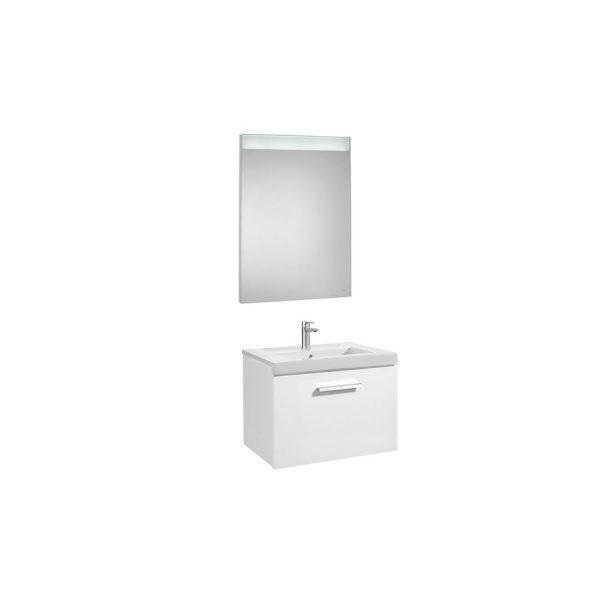 Conjunto completo mueble 1 cajón + lavabo + espejo luz integrada (80 o 60 cm) - Prisma - Roca