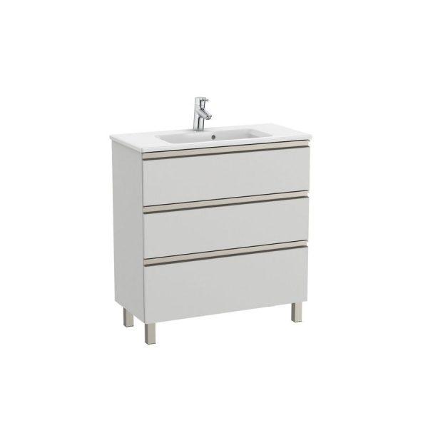 Conjunto Pack mueble base compacto de tres cajones, lavabo y espejo LED - The Gap - Roca