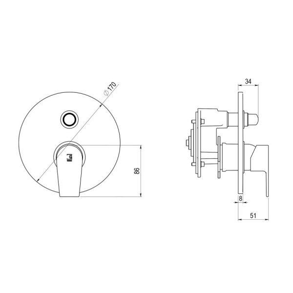 Mecanismo empotrable para baño-ducha mezcladora - Aroha - Galindo