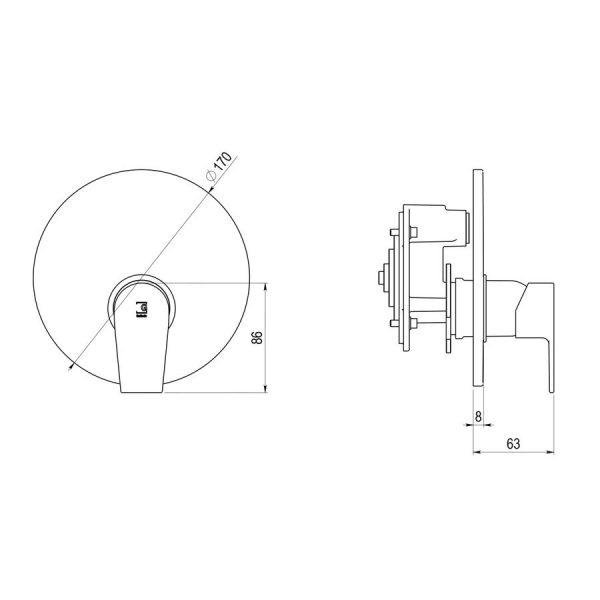 Mecanismo ducha + caja universal empotrable mezcladora - Aroha - Galindo