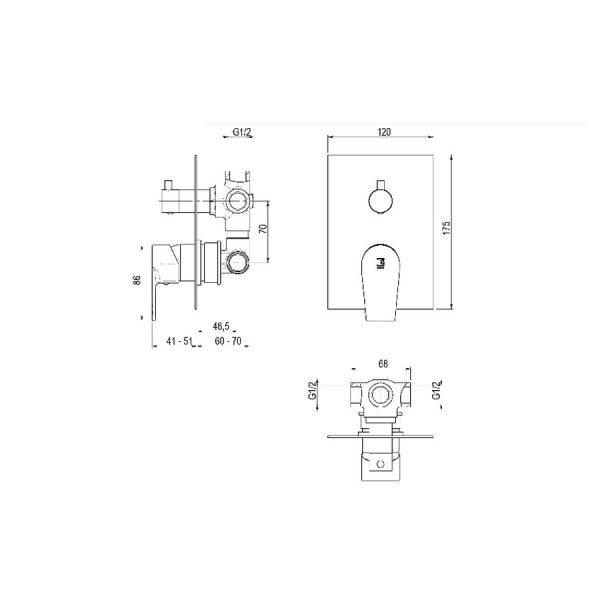 Mecanismo Ducha Empotrable 3 Vías - Aroha - Galindo
