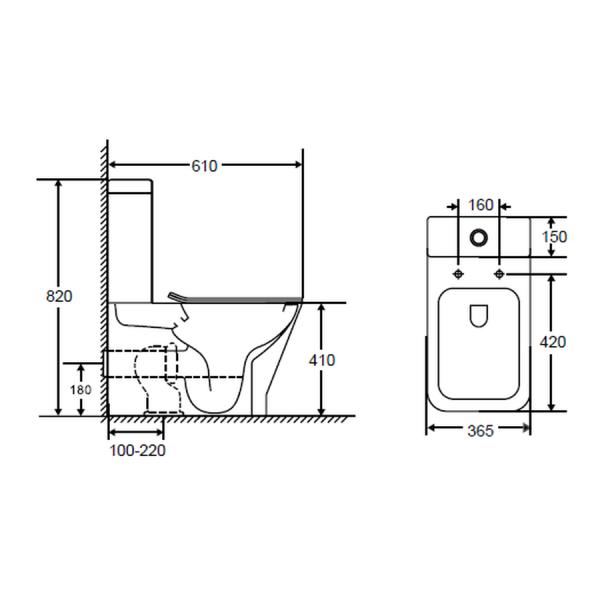 Inodoro rimless con entrada y salida dual - Compaq - Futurbaño